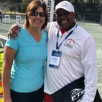 GiGi Fernández and Coach Marvin at the 2019 PTR Symposium (GiGi Fernández was recognized primarily as a doubles specialist during her professional career. She won a career doubles Grand Slam with 17 Grand Slam women's doubles title)