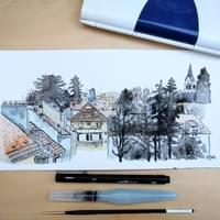 Watercolor urban design