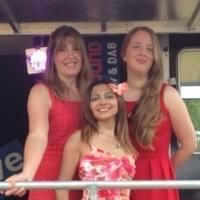 Amy, Claire & Deborah performing some Jazzy songs on 'The Wave' radio stage at the Swansea Air Show!