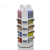 Rotatable ixture supermarket FSDU stand for mixing favors snacks with spiner