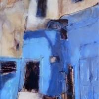 """blue walls of essaouira"" 36 x 24 inches, mixed media on panel."