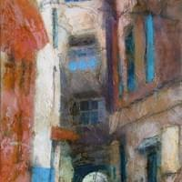 """gateway to essaouira"", 36 x 24 inches, mixed media on panel."