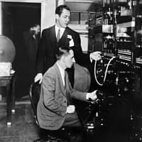 Bill Paley and a tech at CBS