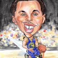 Steph Curry Golden State Warriors Caricature