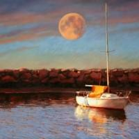 """Moonrise over Old Harbor""  20x16"" pastel"