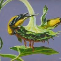 "Goldfinch Buffet""  10x8"" acrylic/mixed on board"