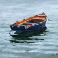"""Red Topped Skiff ""  10x8 oil on board"