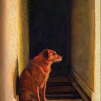 """Waiting For His Master"" 8x10.5"" pastel, framed"