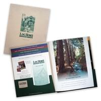 Log Home Design Ideas magazine media kit: folder with pocket, gusseted pocket, saddle stitched pages and slits for business card and rate card; tiered info. sheets and sample issue