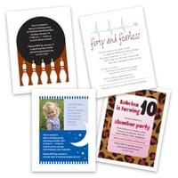"What could be simpler than 4.25"" x 5.5"" party invitations? Print 'em 4-up on 8.5"" x 11"" card stock, slice 'em up, and voila!"