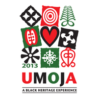 T-shirt design for Umoja — a conference for transracial families raising African American children — featuring adinkra symbols that have meanings such as unity, security and endurance