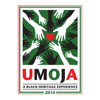 T-shirt design for Umoja — a conference for transracial families raising African American children — incorporating existing logo and Pan-African colors