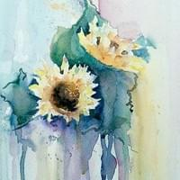 Abstract Sunflowers in Watercolour