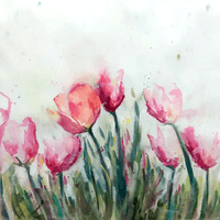 Abstract Tulips in Watercolour