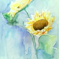 Sunflowers in Watercolour