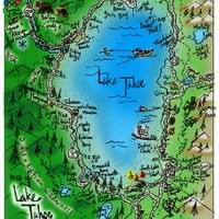 Map of Lake Tahoe by Alden Olmsted ©2018