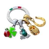 Silver Mirco charm Key ring Quattro Good luck