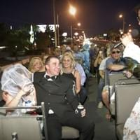 Elvis performs on a Double Decker bus in Las Vegas