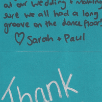 Sarah & Paul Wedding thank you to the DJ