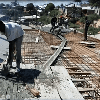 Pouring the concrete slab of the new floor