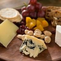 Cheese, bread and fruits