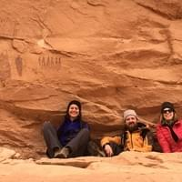 Jess, Kenny, and Bonnie hiking near Moab