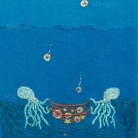 双子のたこ、流れ星を拾う Twin octopuses catch  shooting stars.