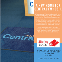 New reception branded logo mat at Central FM