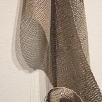 "(Detail) Re-Collection II. Aluminum, silver, handwoven cotton, natural dye (cinnamon) 74"" x 27"" x 5"""