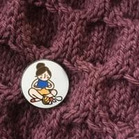 Knitting Girl Enamel Pins