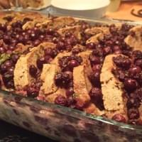 Bread pudding made with juneberries & mulberries harvested in West Philly