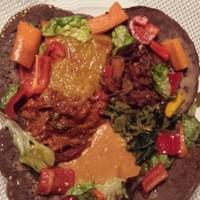 Eritrean dishes served on our homemade injera bread