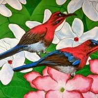 A pair of Crimson Sunbirds, amongst Kopsia and Adenium flowers