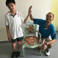 With Caden and completed chair-painting