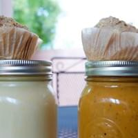 Coconut Curry Broth and Bourbon Sweet Potato Bisque with Baked Apple Ginger Chia Corn Muffin