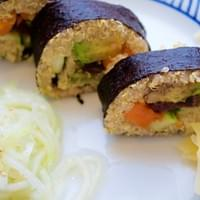 Rainbow Veggie Quinoa Sushi Roll with Cucumber Salad