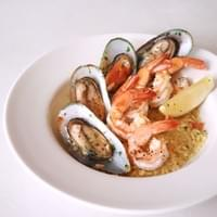 'One Plate' Fresh Prawns, Fish & Mussels with Lemongrass-Infused Pan Rice, Flambéed with Aged Cognac