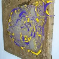 P & Y Contrasting Colours, 2020, 33.4 x 32.7 x 3.5 cm, Mixed media on Canvas