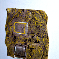 Contained Information #5, 2019, 15 x 15 x 2 cm - Glass, Natural pine constructed frame, Wood pulp virgin fibre sack paper, Nylon string, Tanking slurry, Cement, Plaster, Varnish, Gloss, Matt paint, Enamel paint  (Close up)