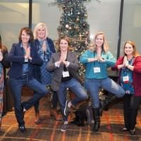 7 ladies doing tree pose