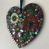 Red Floral Heart, 20 cms