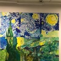 Whole school collaborative acrylic painting inspired by Van Gogh's 'Starry Night' as a backdrop for the nativity play