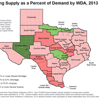 Nursing Shortage by Workforce Development Area (WDA) with the Urban WDAs Combined, 2013