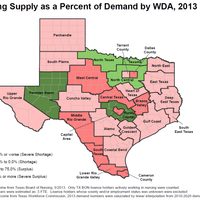 Nursing Shortage by Workforce Development Area (WDA) in TX, 2013