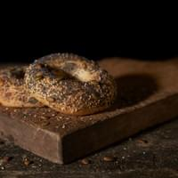Our seedy bagel. Poppy, sesame and pumpkin seed. Photo by Vanessa Wu.
