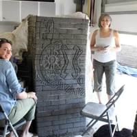 Brittany Ryba and Jane Peterson carving