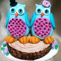 Owls on log  £35