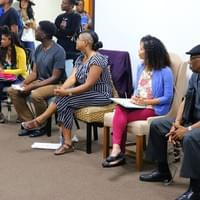 Panelists listen to audience members during the Q&A section of the workshop.