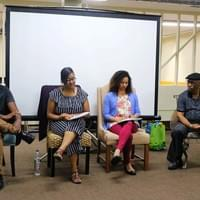 "Workshop Panelists from left to right:  Yvorn ""Doc"" Aswad - 4th Year UCLA Medical Student training to be a Psychiatrist; Marguerite Alexis Ferrera - NAMI Urban LA's School Based Programs Outreach Coordinator + Mental Health Advocate + Musical Artist; Katrina Long - Holistic Clinical Social Worker & Founder of Manifesting M.E. Wellness; Harold Turner - NAMI Urban LA's Director of Programs"
