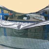 Trolley nets used in supermarkets to put cardboard boxes in
